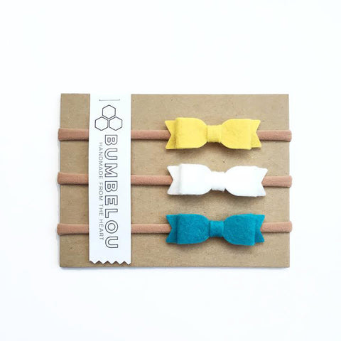Mini Bows - Ochre, White, Peacock
