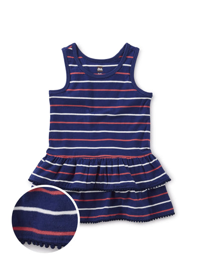 Pom Pom Trim Stripe Dress
