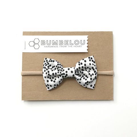 Classic Fabric Bow  - Black & White Dotty - Headband OR Clip
