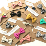 Classic Fabric Bow - Monarch Dot - Headband OR Clip