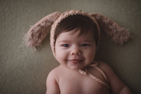 Merino Wool Bunny Bonnet - Collaboration with Love For You Design