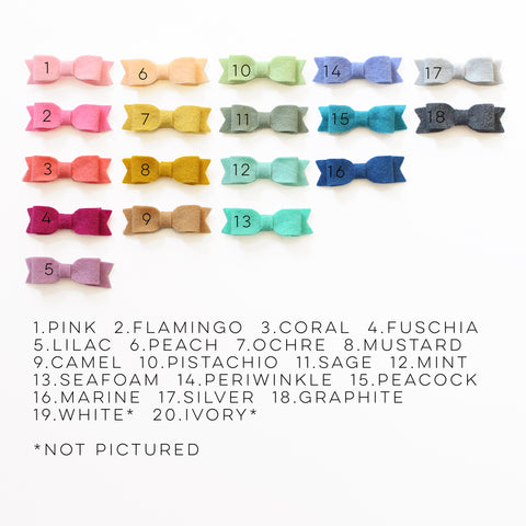 Mini Felt Bows - FULL COLOR COLLECTION