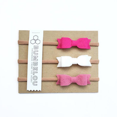 Felt Mini Bows - Magenta, White, Rose