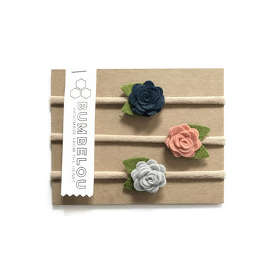 Mini Roses - Navy, Grapefruit, silver