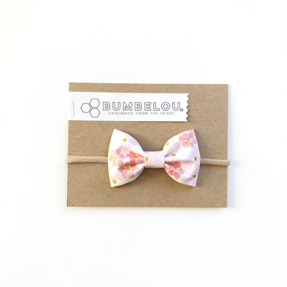 Classic Fabric Bow - Coral and Blush Minis