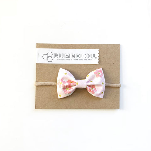 Classic Fabric Bow - Coral and Blush Minis - Headband OR Clip