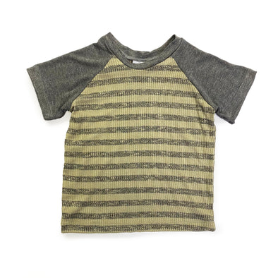 Raglan Tee - Green + Grey Stripe