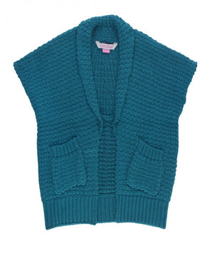 Ethereal Blue Long Open Sweater Vest