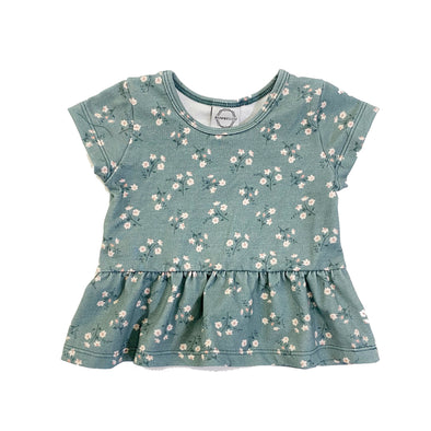 Peplum Top Mini Mint Daisy