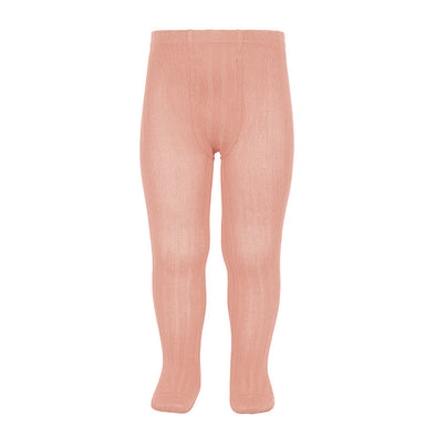 Wide Rib Cotton Tights - Peony