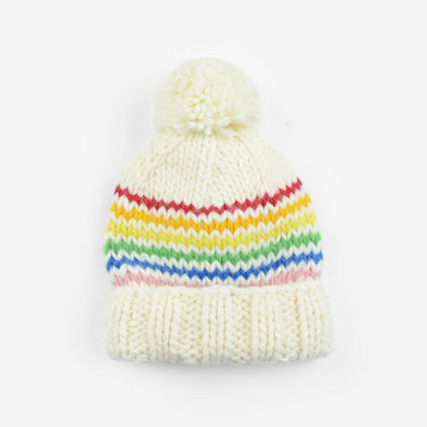 Single Pom Hat - Rainbow Stripe