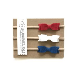 Mini Bows - Red, White and Blue
