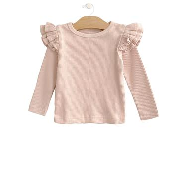 Rib Flutter Sleeve Top- Soft Rose