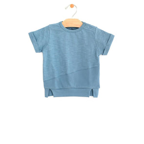 Slub & Jersey Mixed Media Pull Over- Ocean