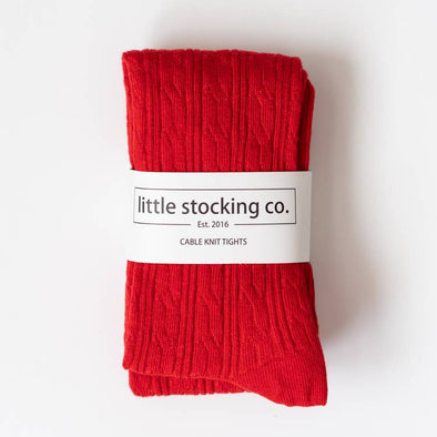 Cable Knit Tights- True Red