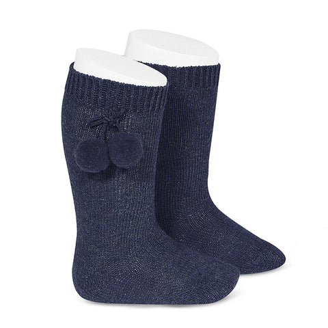 Knee High Pom Pom Socks - Navy