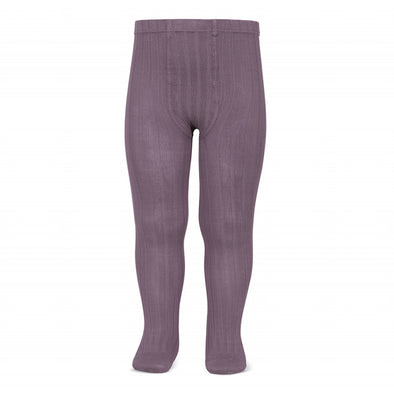 Wide Rib Cotton Tights - Amethyst
