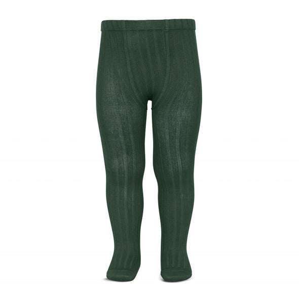 Wide Rib Cotton Tights - Bottle Green