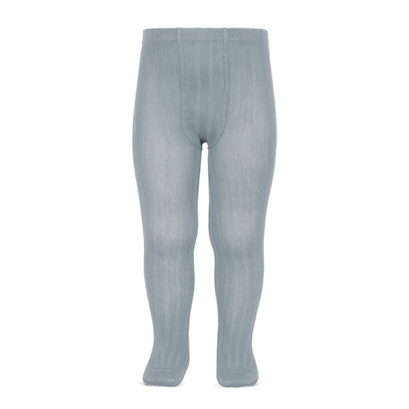 Wide Rib Cotton Tights - Grey