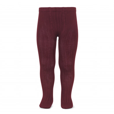 Wide Rib Cotton Tights - Garnet