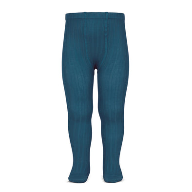 Wide Rib Cotton Tights - Ocean