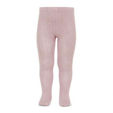 Wide Rib Cotton Tights - Pale Pink