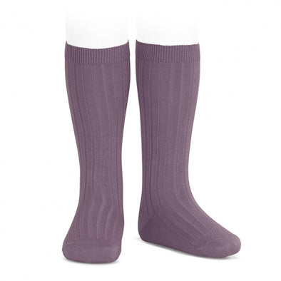 Ribben Cotton Knee Socks - Amethyst