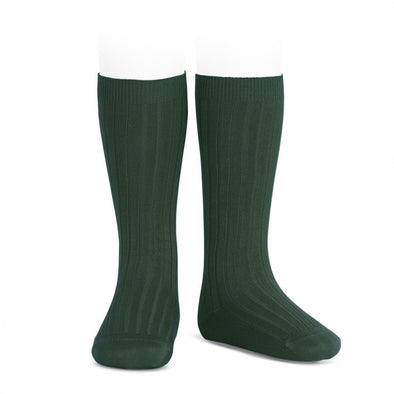 Ribben Cotton Knee Socks - Bottle Green