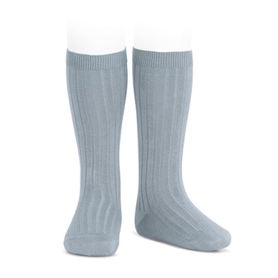 Ribben Cotton Knee Socks - Grey