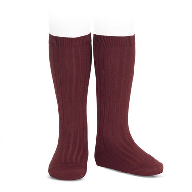 Ribben Cotton Knee Socks - Garnet
