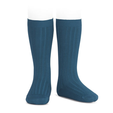 Ribben Cotton Knee Socks - Ocean