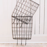 Metal Rust Wall Basket with Hooks