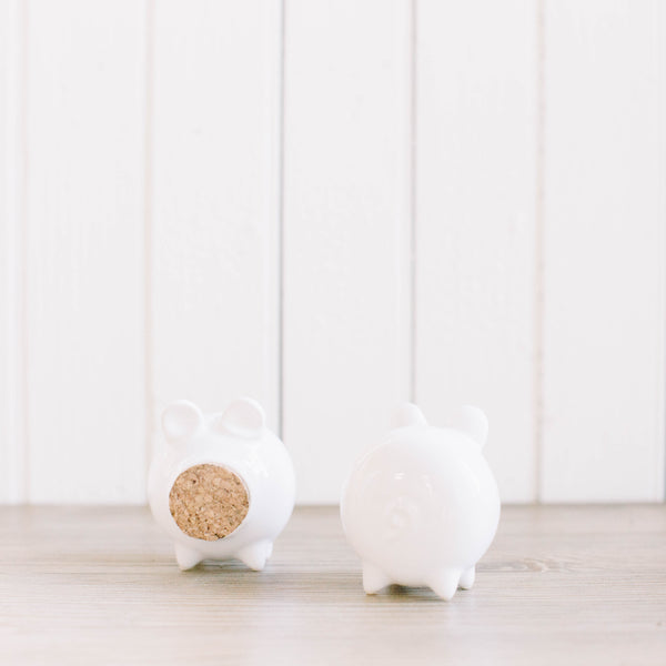 Corked pig salt & pepper shakers