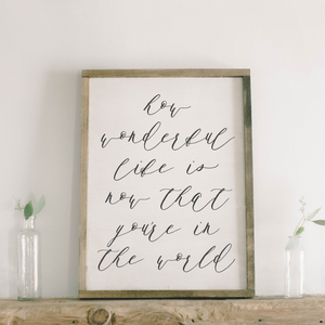 How Wonderful Life Is Rectangle Framed Wood Sign