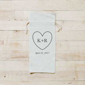 Personalized Initials With Heart Wine Bag