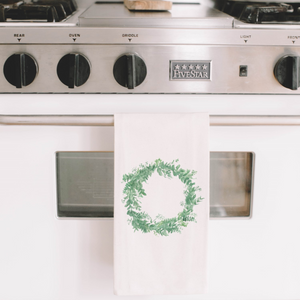 Floral Wreath Watercolor Tea Towel