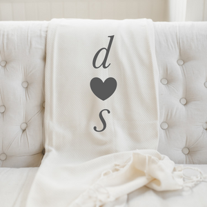 Personalized Two Initials and Heart Throw Blanket