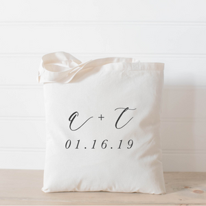 Personalized Two Initials and Date Tote Bag