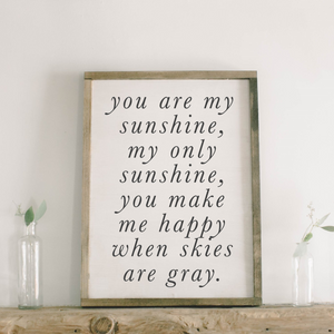 You Are My Sunshine Rectangle Framed Wood Sign