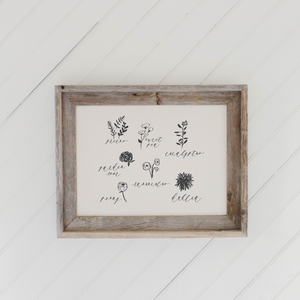 Flower Types Barn Wood Framed Print