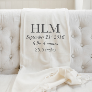 Personalized Birth Stats With Monogram Throw Blanket