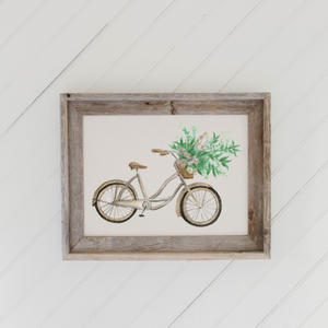 Floral Bike Watercolor Barn Wood Framed Print