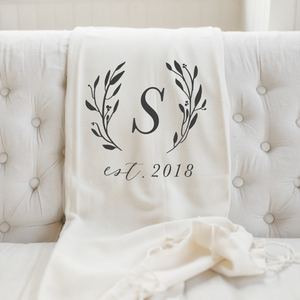 Personalized Initial With Laurels Throw Blanket
