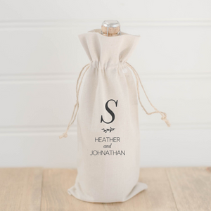 Personalized Initials With Laurels Wine Bag