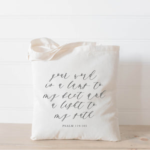 Your Word is a Light Unto My Path Tote Bag