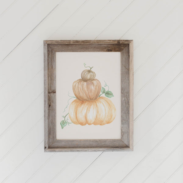 Pumpkin Stack Watercolor Barn Wood Framed Print