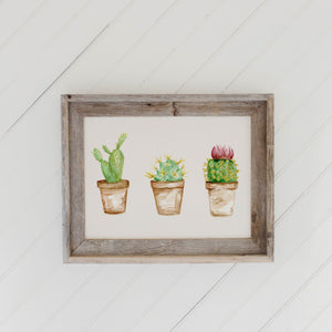 Cactus Watercolor Barn Wood Framed Print