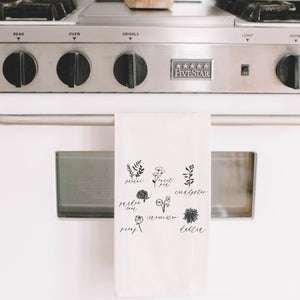 Flower Types Tea Towel