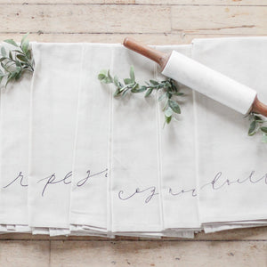 Cozy White Cottage Words Tea Towel