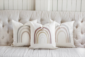 Subtle Mauve Rainbow Pillow